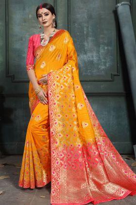 Mustard Yellow Art Silk Feative Wear Saree