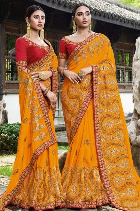 Mustard Yellow Art Silk Wedding Saree With Art Silk Blouse