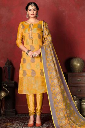 Mustard Yellow Banarasi Silk Designer Salwar Suit With Blouse