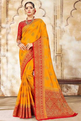 Mustard Yellow Color Art Silk Saree With Weaving Work