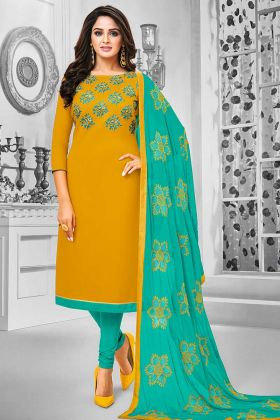 Mustard Yellow Color Cotton Designer Salwar Suit With Resham Embroidery Work