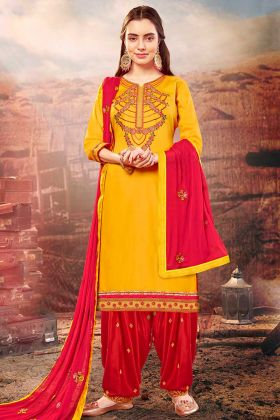 Mustard Yellow Color Cotton Silk Patiala Suit With Thread Embroidery Work