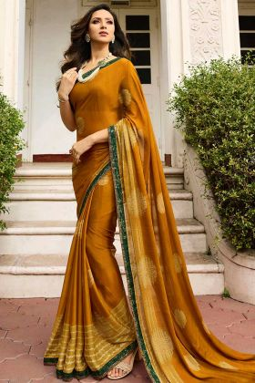 Mustard Yellow Color Designer Georgette Saree With Art Silk Blouse