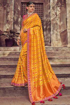 Mustard Yellow Color Dola Art Silk Saree With Weaving Work