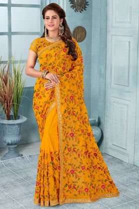Mustard Yellow Color Georgette Embroidered Saree