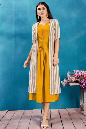 Mustard Yellow Color Jacket Style Kurti With Thread Work