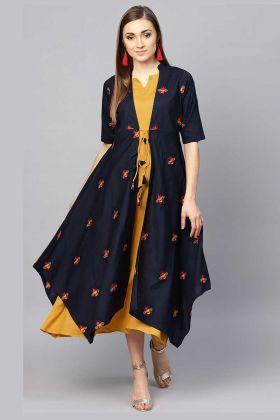 Mustard Yellow Color Muslin Cotton Jacket Style Kurti