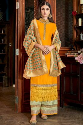 Mustard Yellow Color Palazzo Salwar Kameez With Weaving Work