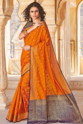 Mustard Yellow Designer Traditional Saree In Handloom Silk