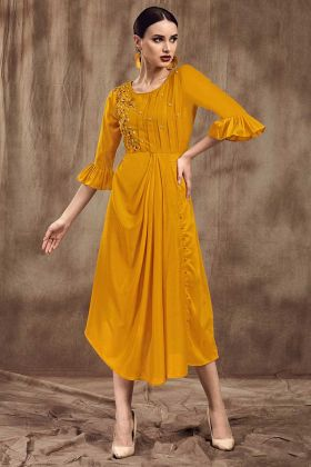 Mustard Yellow Fancy Kurti With Muslin Fabric
