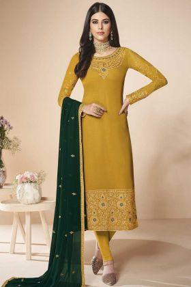 Mustard Yellow Georgette Churidar Salwar Suit With Dupatta
