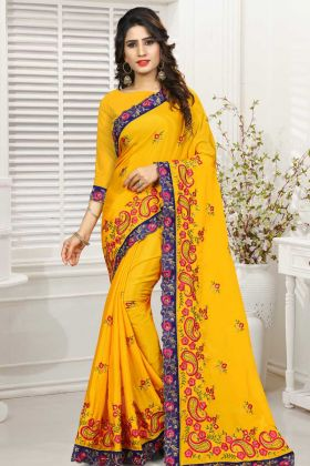 Mustard Yellow Party Wear Saree Collection