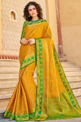 Mustard Yellow Saree With Art Silk Weaving Work