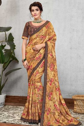 Mustard Yellow Sequined Silk Georgette Latest Sarees