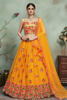 Mustard Yellow Soft Net Jari Embroidery Wedding Lehenga Choli