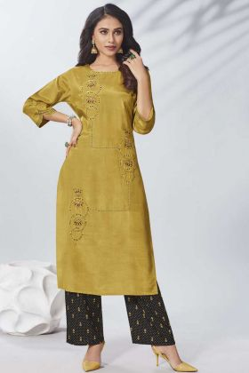 Mustard Yellow Stylish Kurti With Stitched Bottom