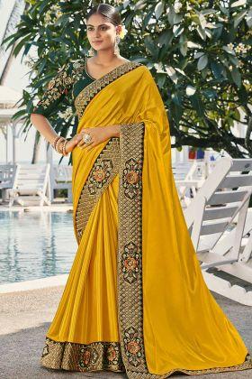 Mustard Yellow Wedding Saree For Haldi Rasam