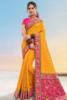 Musterd Diamond Work Pure Satin Traditional Saree