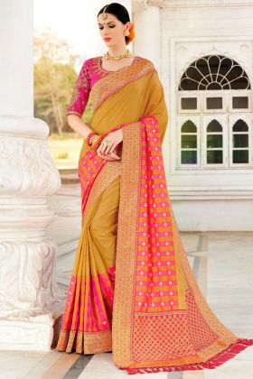 Musterd Color Party Wear Saree Online