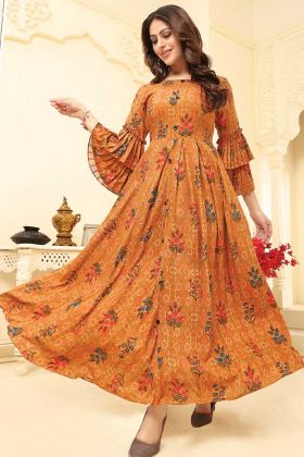 Mustrad Yellow Rayon Gown For Women