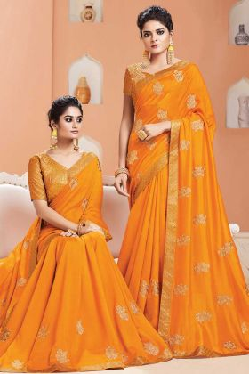 Musturd Yellow Color Party Wear Weaving Saree