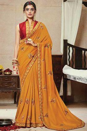 Musturd Yellow Color Satin Silk Saree