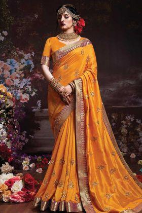 Musturd Yellow Vichitra Silk New Saree Design