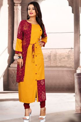 Mustard Yellow and Marron Color Readymade Kurti