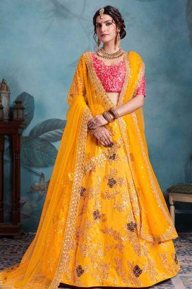 Mustard Yellow Bridal Lehenga Choli In Art Silk Fabric