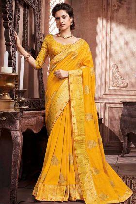 Musturd Yellow Color Soft Art Silk Saree Weaving Work