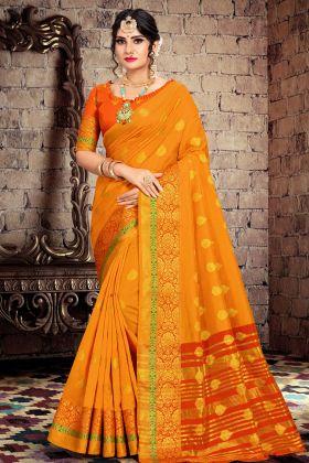 Musturd Yellow Cotton Silk Saree