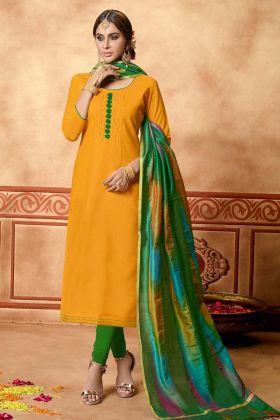 Musturd Yellow Cotton Slub Straight Suit