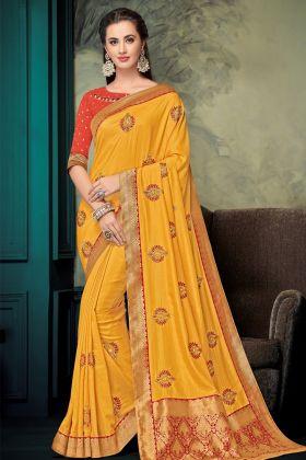 Mustard Yellow Jacquard Silk Saree