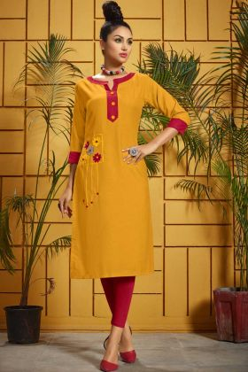 Mustard Yellow Rayon Fancy Kurti