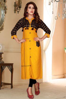 Musturd Yellow Rayon Festive Kurti