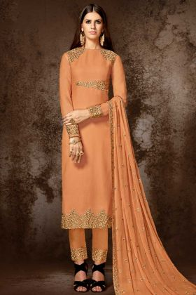 Nakkashi Georgette Pant Style Salwar Kameez In Orange Color