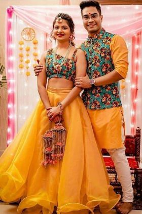 Navratri Special Heavy Organza With Cancan Semi stitched yellow color lehenga couple combo