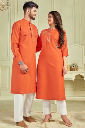 Navratri Wear Orange Pure Cotton Couple Combo Kurta With Payjama And Kurti With Pant