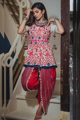 Navratri Collection Slub Cotton White Kedia with Tulip Pants Red Color