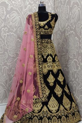 Navy Blue 9000 Velvet Latest Bridal Wear Lehenga Choli