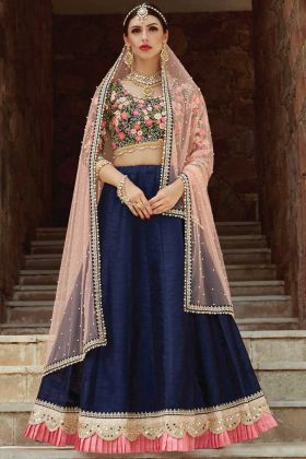 Navy Blue Art Silk Wedding Wear Lehenga Choli
