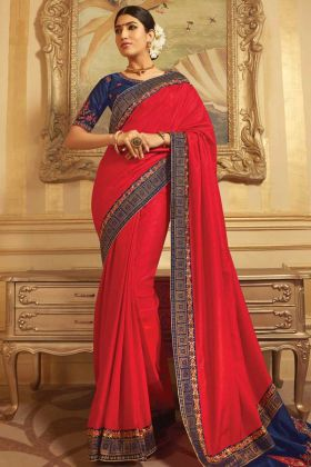 Navy Blue Blouse Design With Red Saree For Karwa Chauth