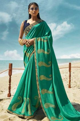Navy Blue Blouse Pattern With Sea Green Soft Art Silk Fancy Saree
