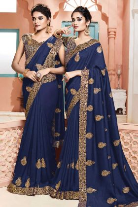 Navy Blue Color Art Silk Party Wear Saree