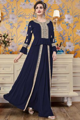 Navy Blue Color Georgette Wedding Gown For Women