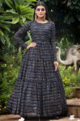 Navy Blue Color Latest Fancy Designer Georgette Anarkali Suit