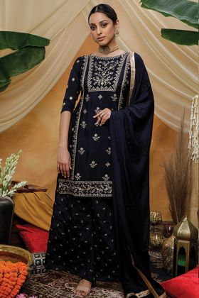 Navy Blue Color Party Wear Chinon Latest Salwar Suit