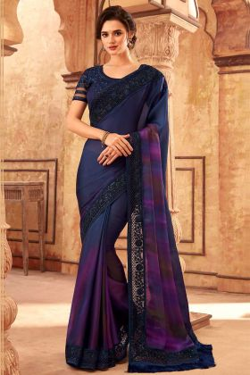 Navy Blue Color Rainbow Silk Designer Sarees With Blouse Piece