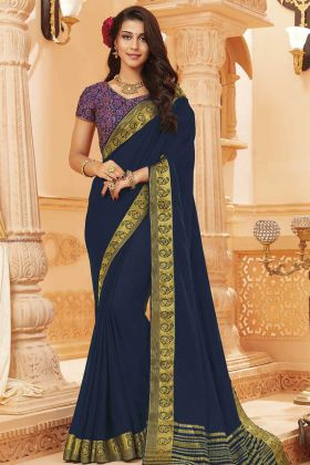 Navy Blue Color Satin Silk Print Work Saree