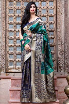 Navy Blue Color Soft Banarasi Silk Saree For Wedding